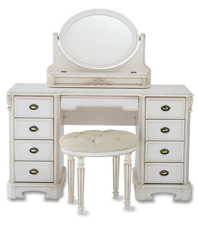 Antique White Stained Mahogany Wood Dressing Table With Oval With Antique White Oval Mirror (Image 4 of 20)