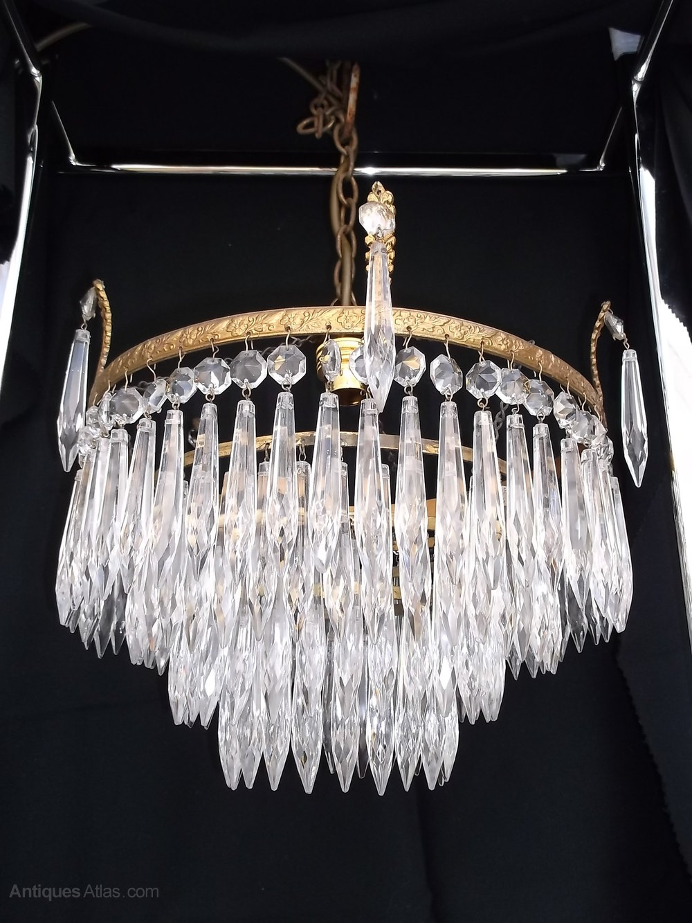 Antiques Atlas Antique 4 Tier Waterfall Crystal Chandelier Intended For Waterfall Chandeliers (Image 7 of 25)