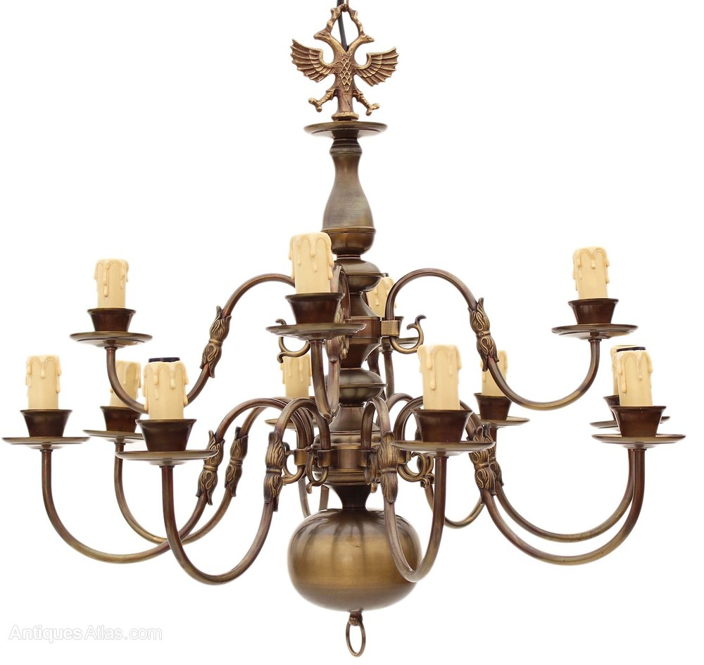 Antiques Atlas Flemish 12 Lamp Brass Bronze Chandelier 2 Tier Within Flemish Brass Chandeliers (Image 4 of 25)