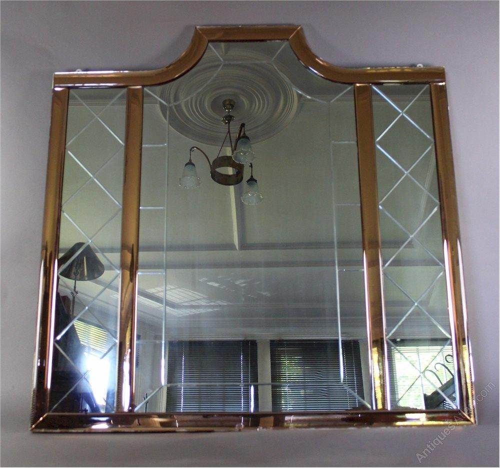 Antiques Atlas – Large Art Deco Mirror With Peach Borders With Regard To Large Art Deco Mirrors (Image 1 of 20)