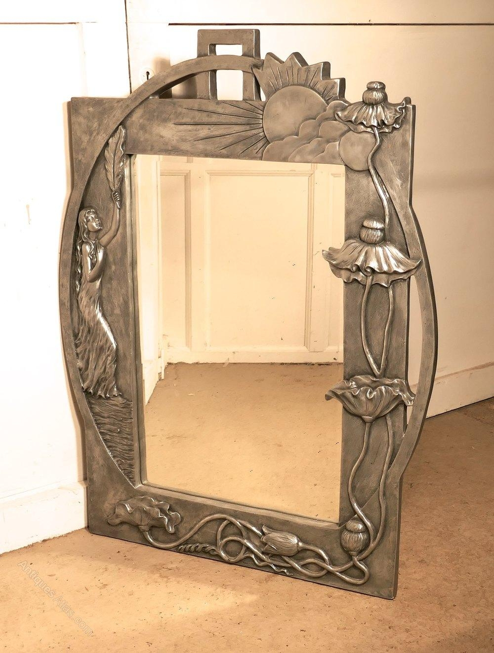 Antiques Atlas – Large Art Nouveau Style Pewter Wall Mirror Regarding Large Art Deco Mirror (Image 2 of 20)
