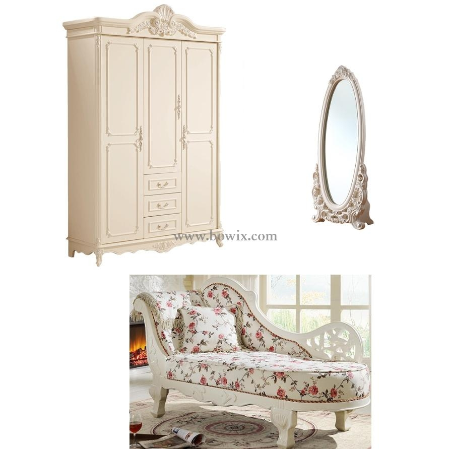 Antoinette French Baroque Armoire, Daybed & Floor Mirror – Bowix Regarding Baroque Floor Mirror (Image 5 of 20)