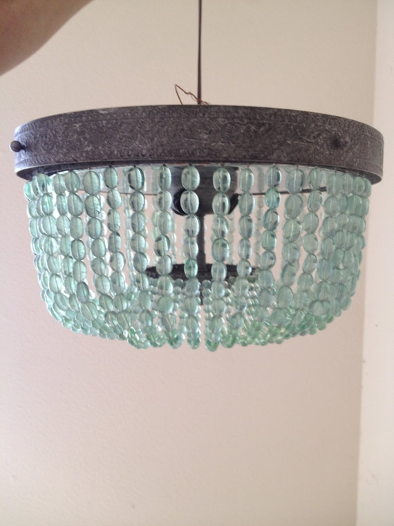 Aqua Light Turquoise Green Vintage Style Beaded Chandelier Inside Turquoise Beaded Chandelier Light Fixtures (Image 9 of 25)