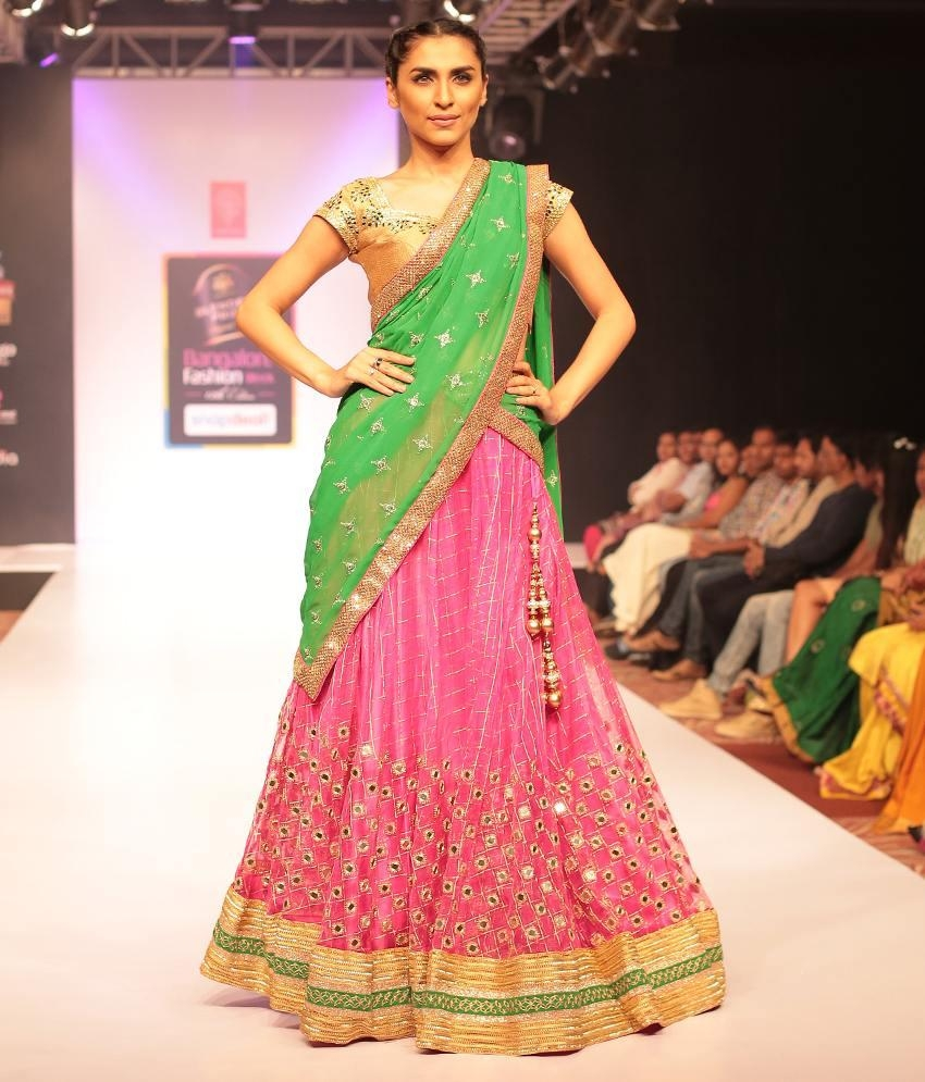 Archana Nallam Pink & Green Half Saree Lehenga With Mirror Work Inside Online Shopping Mirror (Image 2 of 20)