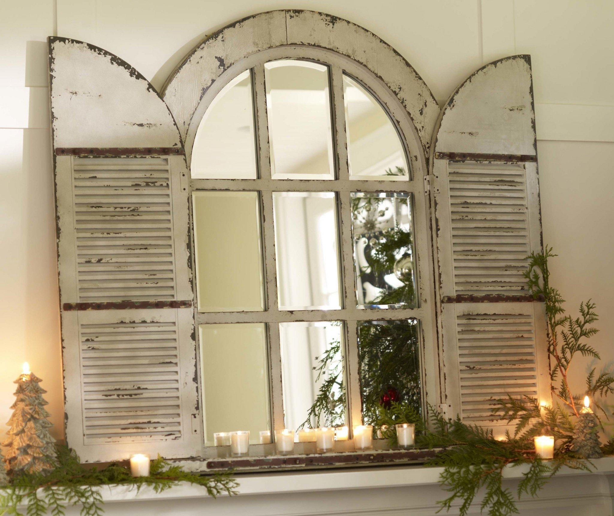 Arched Mirror With Shutters 27 Cute Interior And Cool Arched In Window Shutter Mirror (Image 1 of 20)