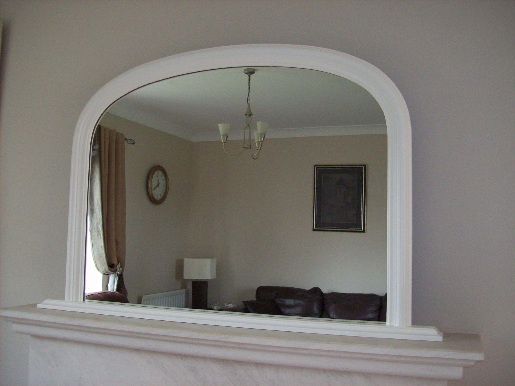 Arched Overmantle Mirror In White Overmantle Mirror (Image 3 of 20)