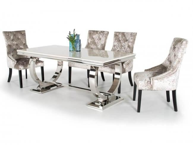 Arianna 1800 Marble Chrome Large Dining Set For Chrome Dining Tables (View 6 of 20)