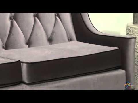 Armen Living Barrister Gray Velvet Sofa – Product Review Video In Barrister Velvet Sofas (Image 1 of 20)