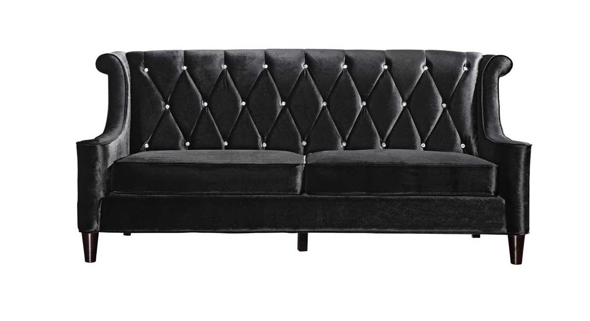 Armen Living Barrister Velvet Sofa – Black Al Lc8443Black At With Regard To Barrister Velvet Sofas (Image 12 of 20)