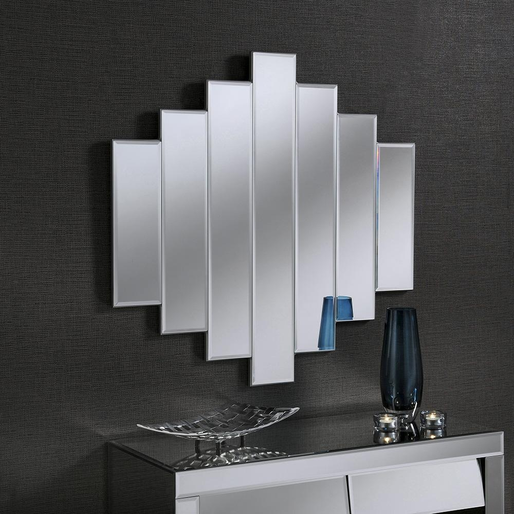 Art Deco Mirror Uk. Black Classic Triple Bar Mirror (Image 9 of 20)