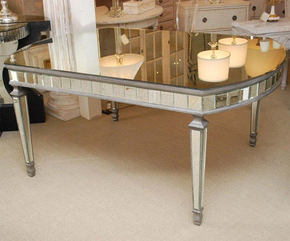 Art Deco Oval Mirrored Dining Table At 1Stdibs For Mirrored Dining Tables (View 1 of 20)