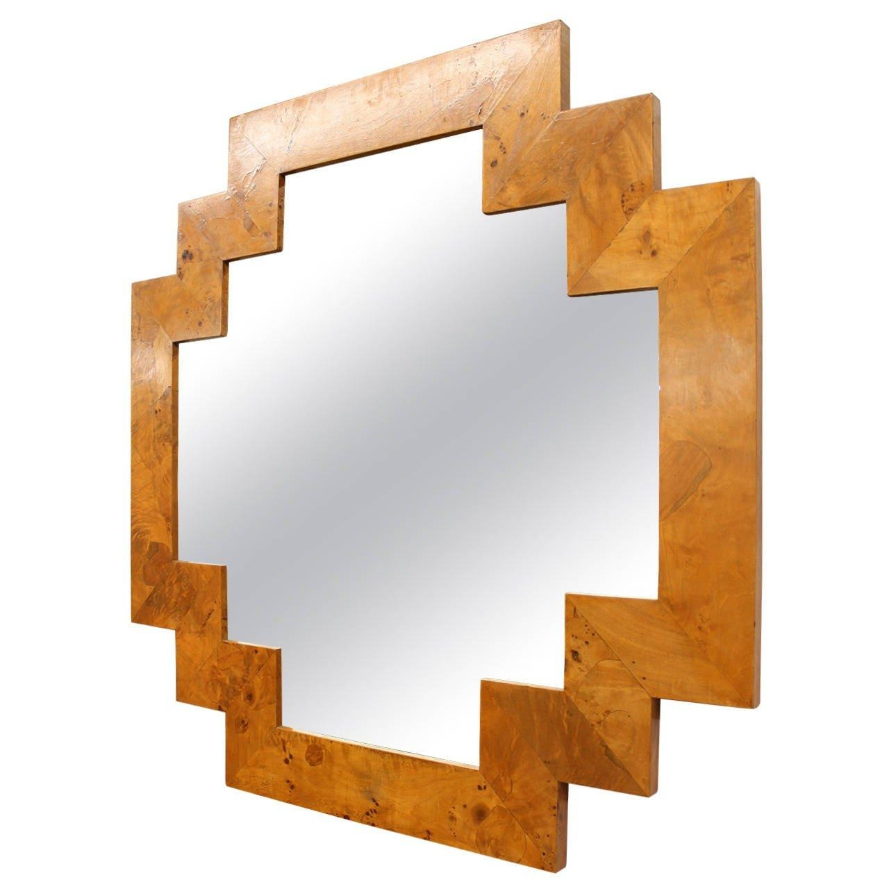Art Deco Style Geometric Italian Burl Wood Wall Mirror At 1Stdibs Intended For Art Deco Wall Mirrors (Image 4 of 20)