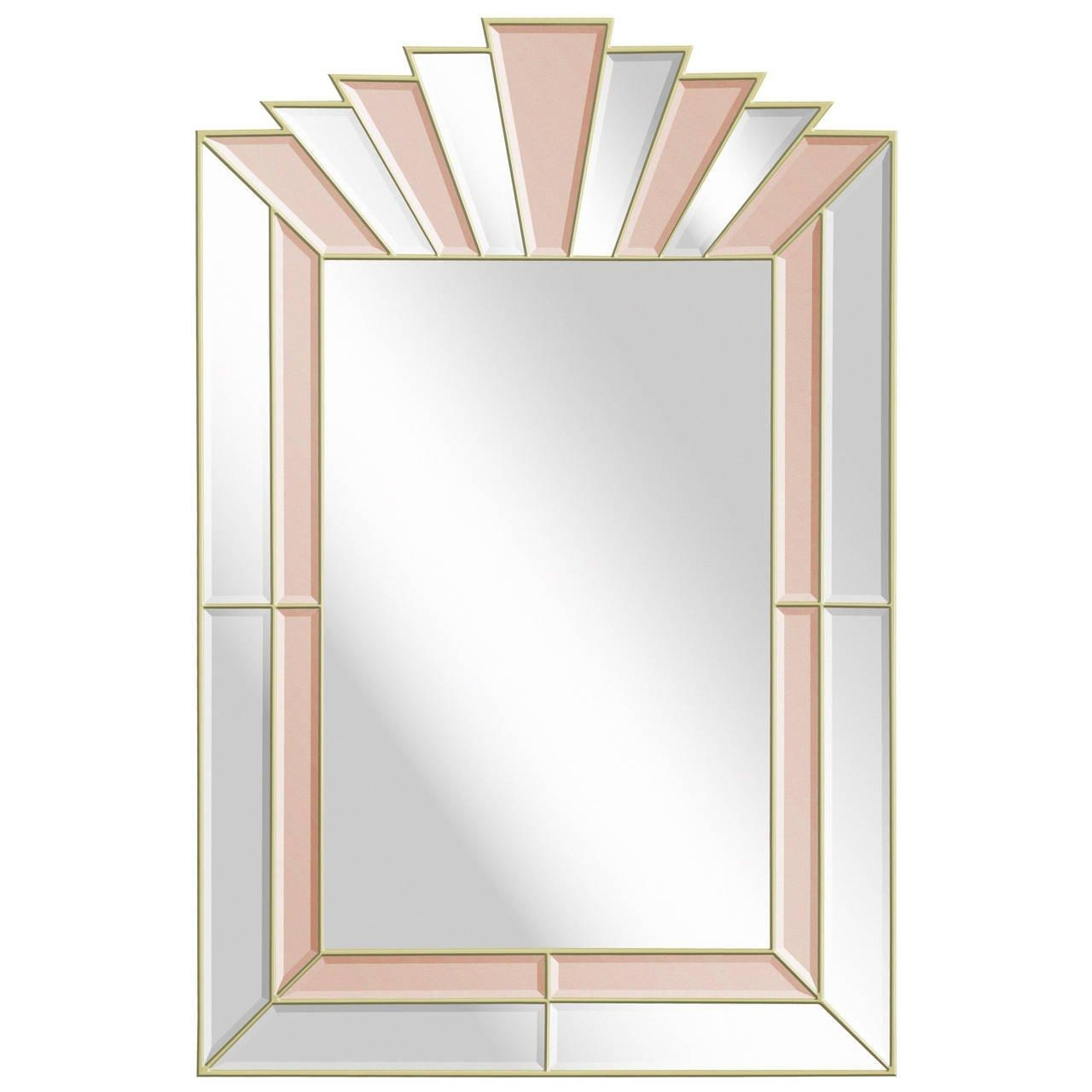 Art Deco Style Mirror With Clear And Champagne Tinted Mirrored Intended For Champagne Mirror (Image 1 of 20)