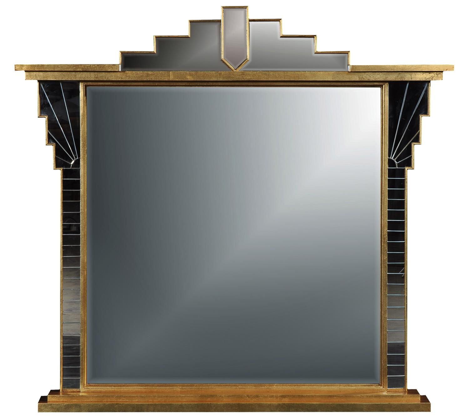Art Deco Style Overmantel Mirror – Antique Finish, Overmantle Intended For Artdeco Mirrors (Image 6 of 20)