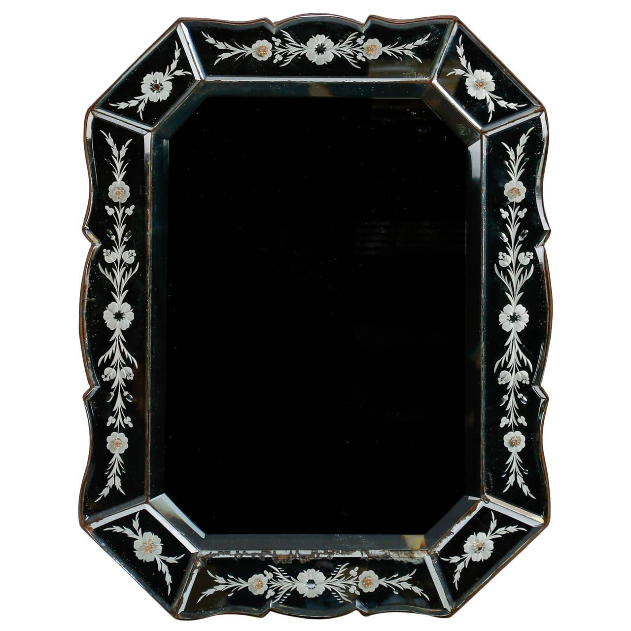 Art Deco Venetian Mirror With Eight Sided Etched Frame For Sale At Regarding Venetian Mirrors For Sale (Image 6 of 20)