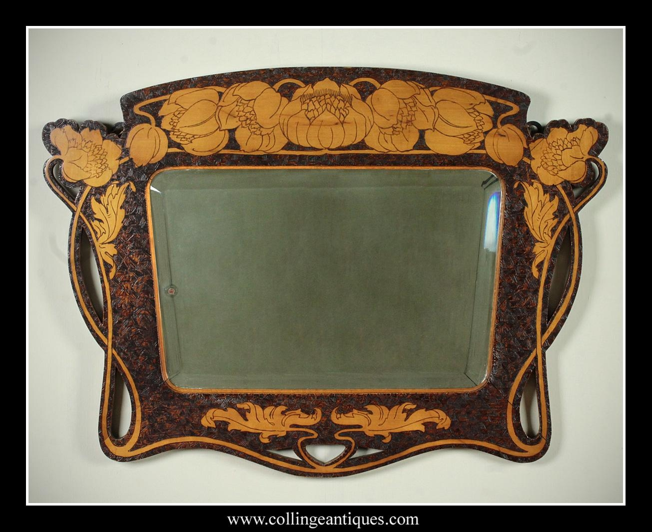 Art Nouveau Pokerwork Mirror (Image 10 of 20)