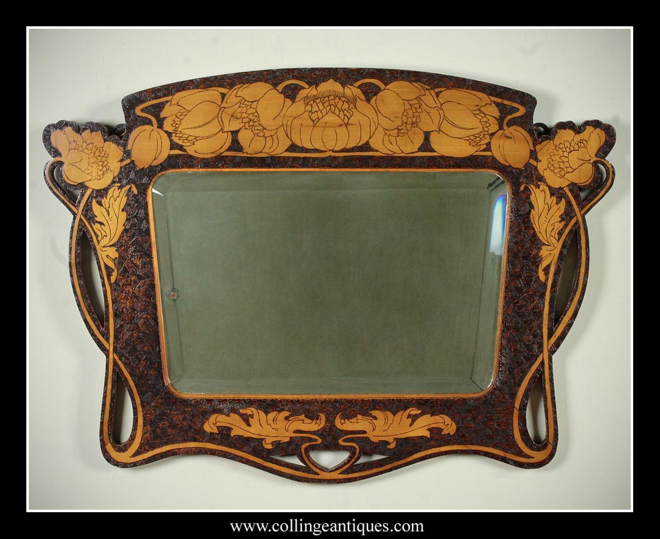 Art Nouveau Pokerwork Mirror (View 6 of 20)