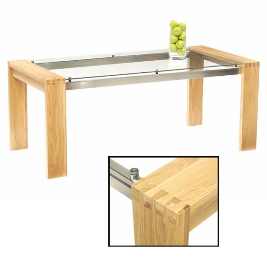 Arturo 150Cm Oak Glass Top Dining Table Only 13420 Intended For Oak Glass Top Dining Tables (Image 4 of 20)