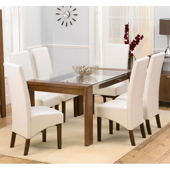 Arturo Walnut Glass Top Dining Table And 6 Wenge Dining Inside Walnut Dining Table And 6 Chairs (Image 4 of 20)