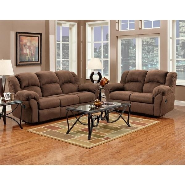 Aruba Chocolate Microfiber Dual Reclining Sofa And Loveseat Set Regarding Reclining Sofas And Loveseats Sets (Image 3 of 20)
