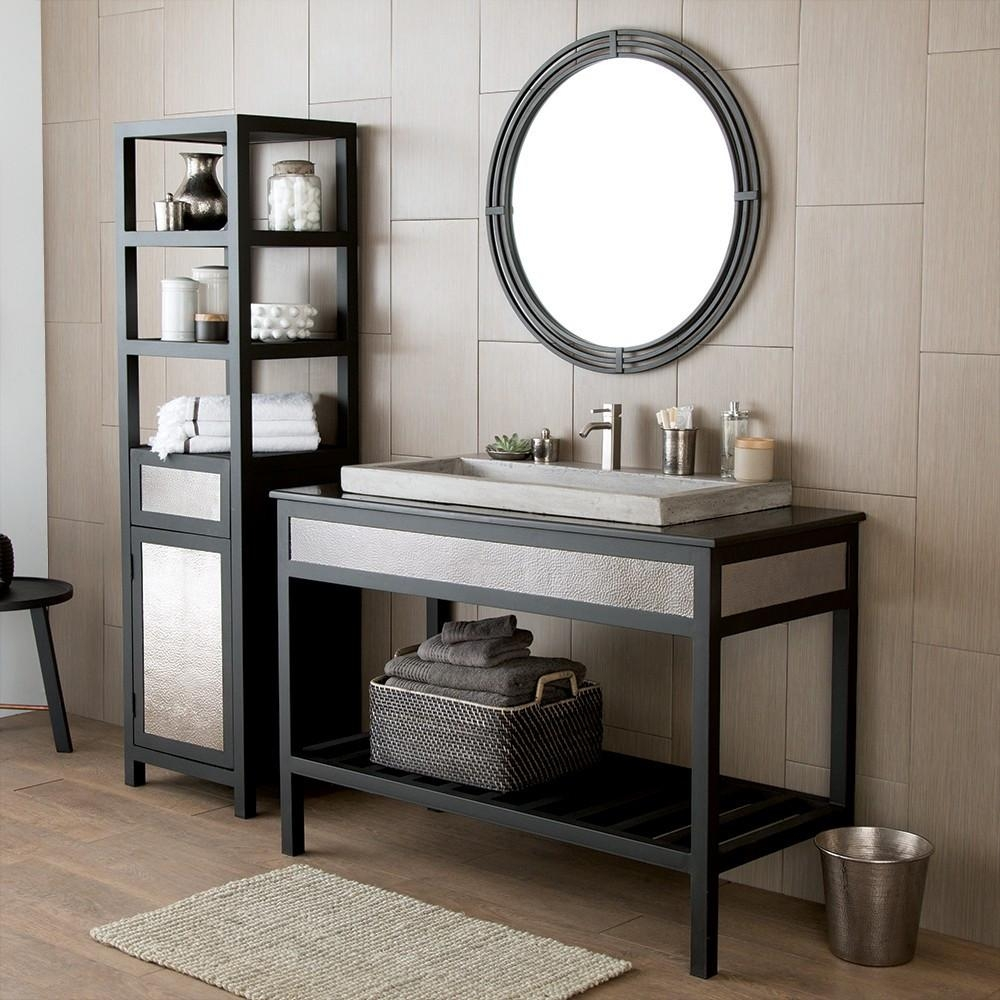 Asana Round Wrougth Iron Framed Wall Mirror Mr708 | Native Trails Within Wrought Iron Bathroom Mirrors (Image 3 of 20)