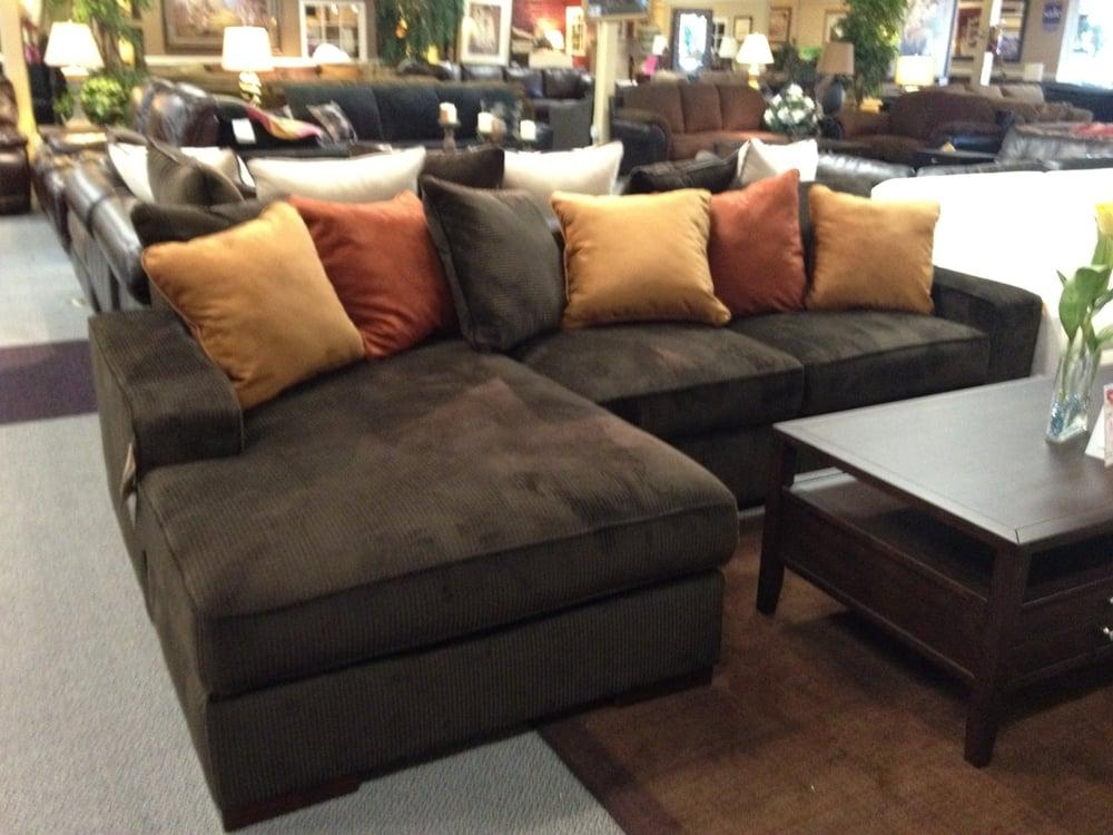 Ashley Chocolate Corduroy Sectional Sofa (Image 4 of 20)
