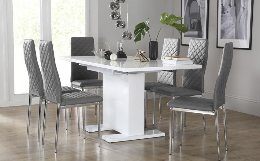 Aston Extendable Dining Table And 6 Cream Chairs – Creditrestore For White Dining Tables And 6 Chairs (Image 3 of 20)