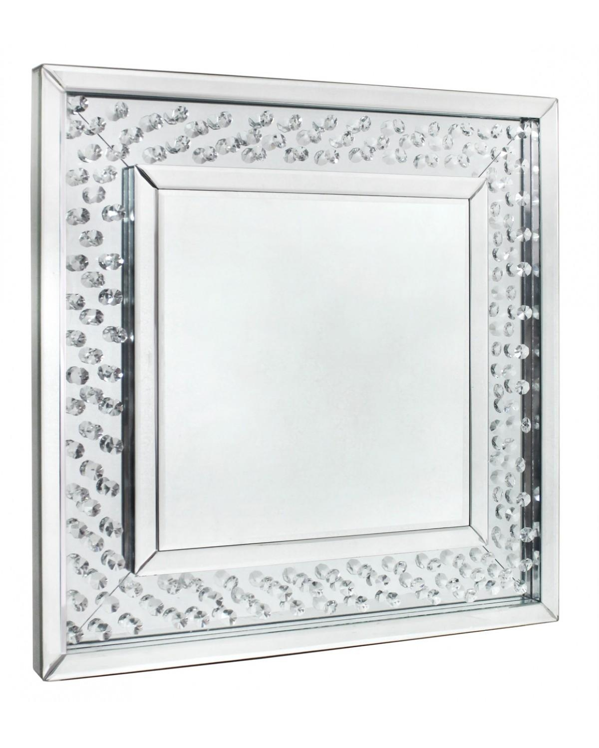 Astoria Floating Crystal Square Wall Mirror In Mirror With Crystals (Image 2 of 20)