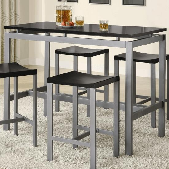 Atlus Counter Height Silver Metal Table With Stools | Counter With Regard To Counter Height Sofa Tables (Image 2 of 20)