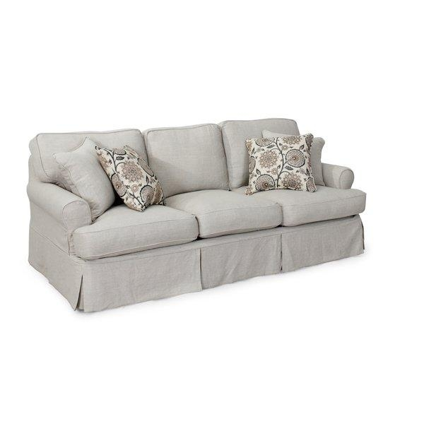 August Grove Callie Sofa T Cushion Slipcover Set & Reviews | Wayfair In 3 Piece Slipcover Sets (Image 12 of 20)