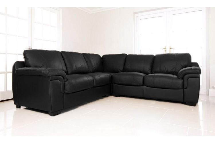 Ava Black Leather Cheap Corner Sofa Suite Regarding Black Leather Corner Sofas (Image 2 of 20)