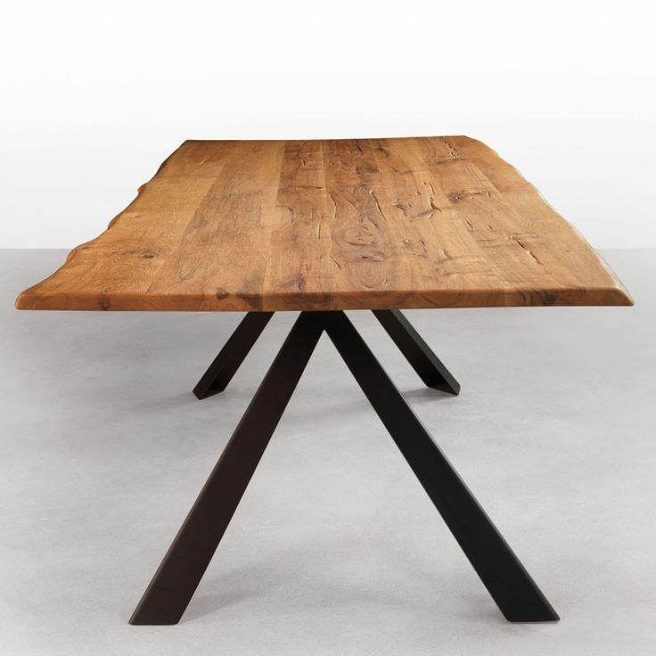 Avedon Live Edge Solid Wood Dining Table With Metal Legs (Walnut With Dining Tables With Metal Legs Wood Top (Image 1 of 20)