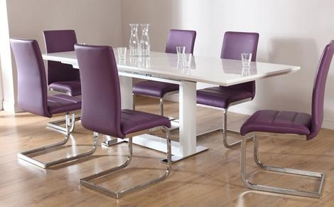 Avon White High Gloss Extending Dining Table With 6 Perth White Pertaining To Extended Dining Tables And Chairs (Image 3 of 20)