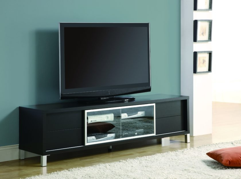Awesome Best Painted TV Stands Regarding Black Painted Oak Wood Wide Screen Tv Stand Mixed Light Blue Wall (Image 7 of 50)