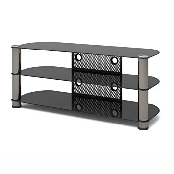 Awesome Best Smoked Glass TV Stands Throughout Amazon Sonax Ny 9504 New York 50 Inch Metal And Glass Tv (View 36 of 50)