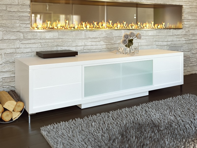 Awesome Best TV Stands White Pertaining To Contemporary White Epopee Tv Stand With Storage Space (View 37 of 50)