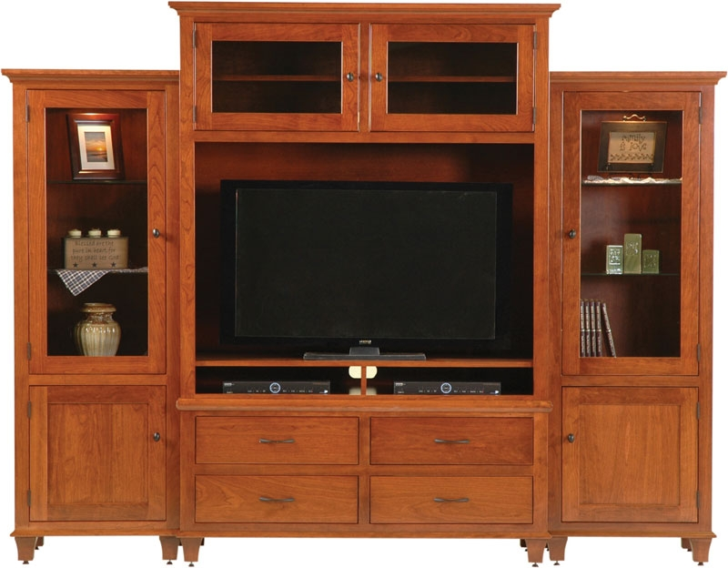 Awesome Brand New Cherry Wood TV Cabinets Throughout Wall Entertainment Centers Ohio Hardword Upholstered Furniture (View 11 of 50)