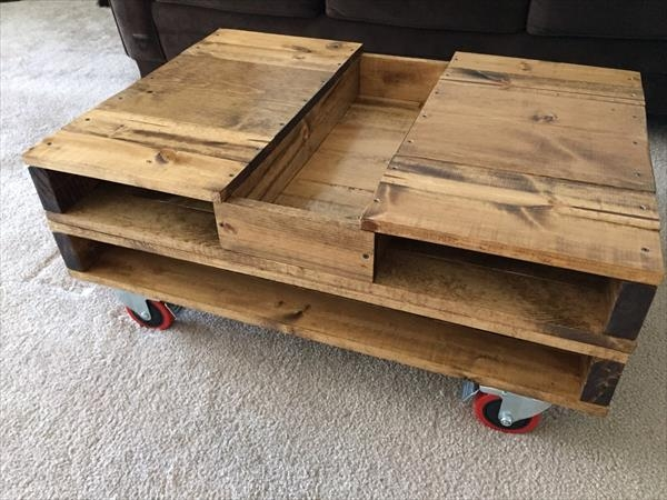 Awesome Brand New Coffee Tables With Box Storage Within Pallet Coffee Table With Storage And Wheels 101 Pallets (Image 9 of 50)