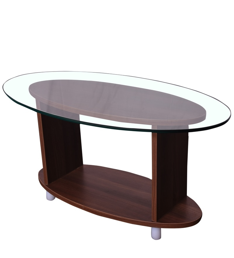 Awesome Brand New Coffee Tables With Oval Shape Regarding Buy Oval Shaped Glass Top Coffee Table In Walnut Finish Addy (Image 2 of 50)