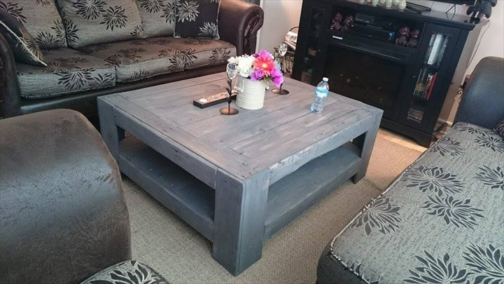 Awesome Brand New Grey Coffee Tables Pertaining To Pallet Table To Inspired Your Living Room (View 33 of 50)