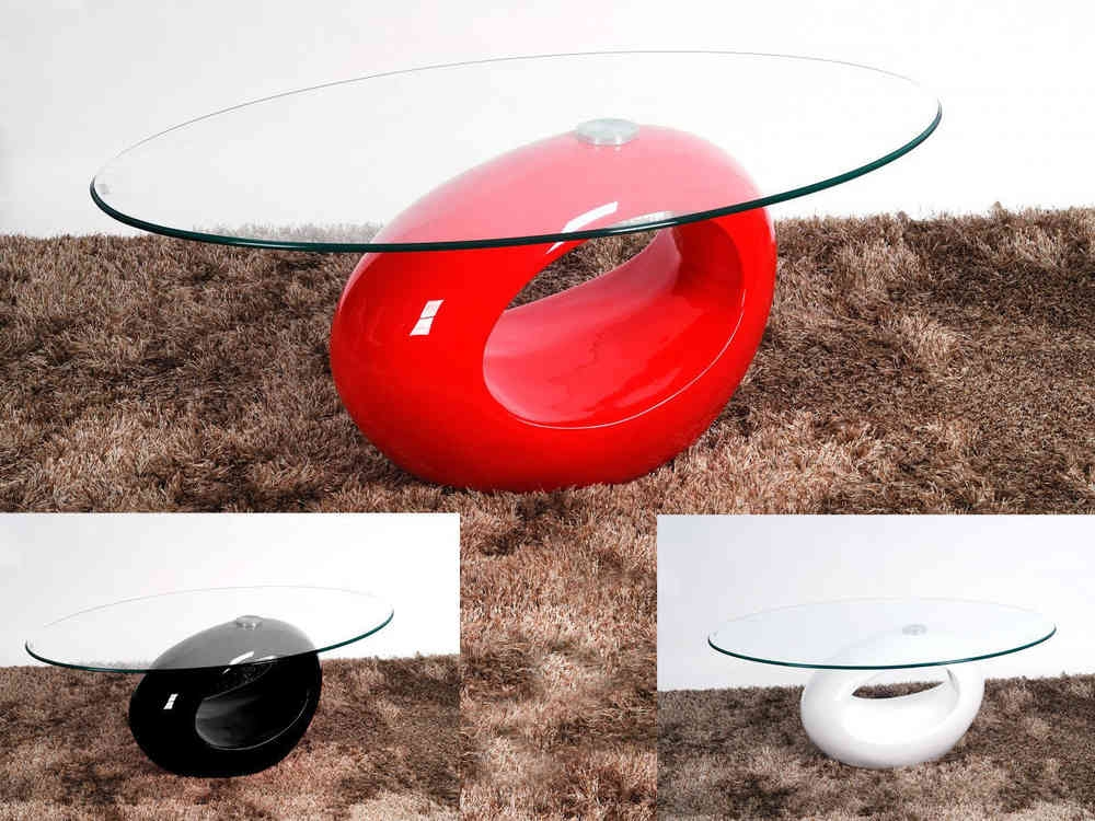 Awesome Brand New Red Gloss Coffee Tables Throughout Oval Glass Coffee Table With Red High Gloss Base Homegenies (Image 3 of 40)