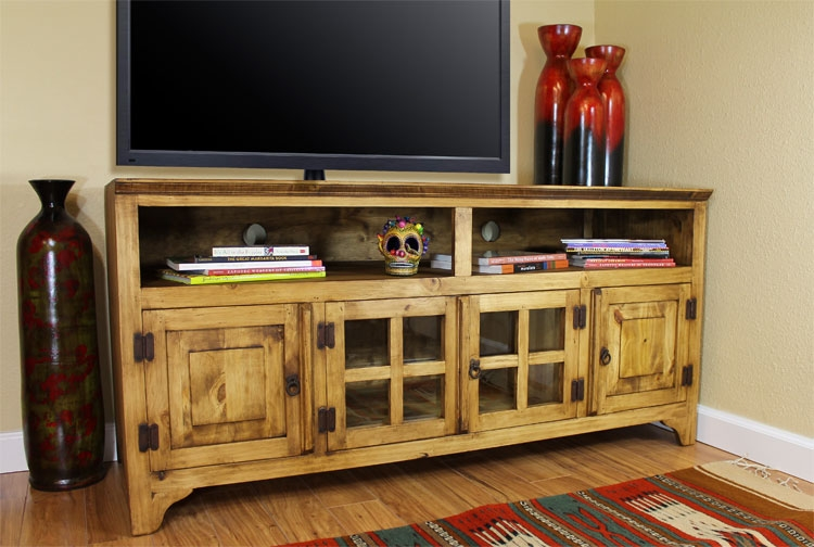 Awesome Brand New Rustic TV Stands Regarding Rustic Pine Collection Gregorio Tv Stand Com (Image 2 of 50)