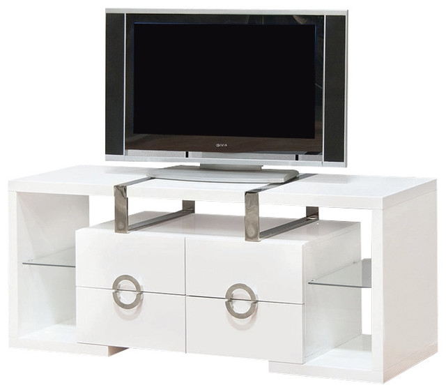 Awesome Brand New White TV Cabinets Inside White Tv Cabinet Media Console With 4 Drawers 55 Contemporary (View 30 of 50)