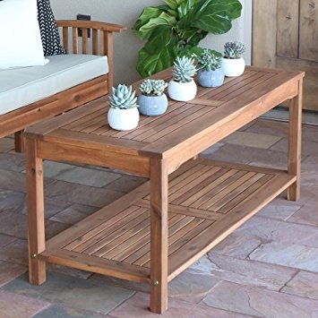 Awesome Brand New Wooden Garden Coffee Tables For Amazon Walker Edison Furniture Company Solid Acacia Wood (Image 5 of 50)