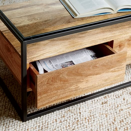 Awesome Brand New Wooden Storage Coffee Tables Regarding Box Frame Storage Coffee Table West Elm (View 20 of 50)