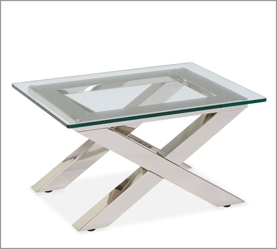 Awesome Common Ava Coffee Tables Inside Ava Metal Glass Accent Side Table Pottery Barn (View 9 of 50)