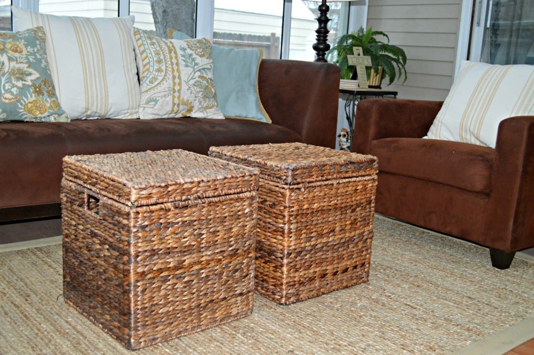Awesome Common Coffee Tables With Basket Storage Underneath With Regard To Bedroom Pleasant Table Baskets Coffee Tables Wicker Basket Is Also (Image 3 of 50)