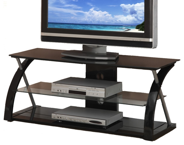 Awesome Common Contemporary Glass TV Stands With Black Glass Metal Dynamic Entertainment Center Contemporary (Image 5 of 50)
