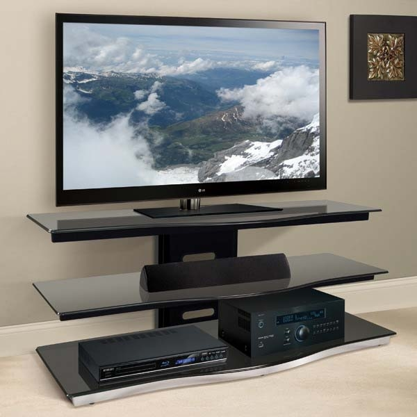 Awesome Common Glass Front TV Stands For Bello Modern Curved Front Black Glass 55 Inch Tv Stand Black Pvs (Image 3 of 50)