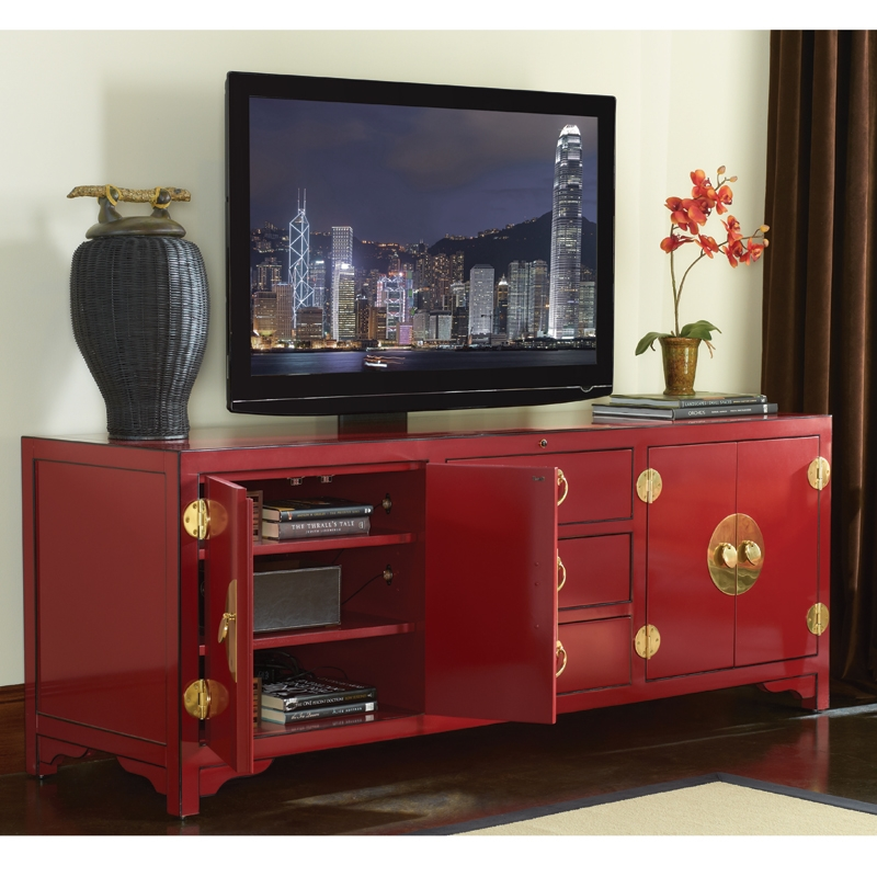 Awesome Common Red TV Stands Throughout Sligh 100sr 660 Studio Designs Pacific Isle 75 Asian Style Tv (Image 4 of 50)